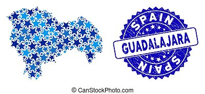 Blue Star Guadalajara Province Map Mosaic and Scratched Stamp Seal