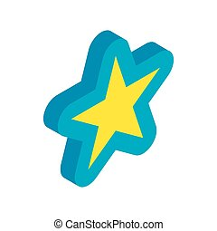 Blue star icon, isometric 3d style