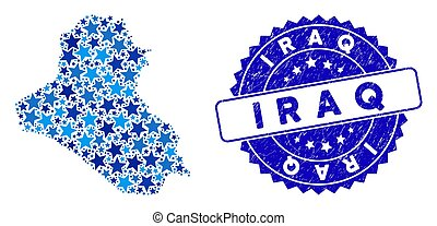 Blue Star Iraq Map Collage and Scratched Stamp Seal