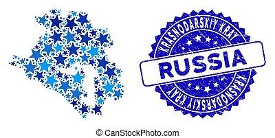 Blue Star Krasnodarskiy Kray Map Mosaic and Grunge Stamp Seal