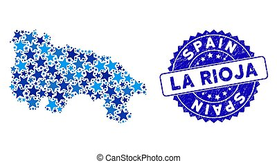 Blue Star La Rioja of Spain Map Composition and Distress Seal