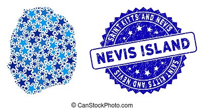 Blue Star Nevis Island Map Collage and Textured Seal