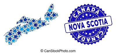 Blue Star Nova Scotia Province Map Collage and Scratched Seal