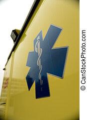 Blue star paramedics logo yellow ambulance car