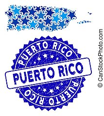Blue Star Puerto Rico Map Mosaic and Distress Stamp Seal