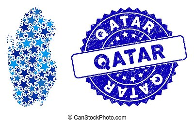 Blue Star Qatar Map Collage and Scratched Seal