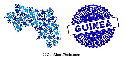 Blue Star Republic of Guinea Map Collage and Distress Stamp Seal