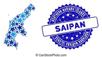 Blue Star Saipan Island Map Collage and Scratched Seal