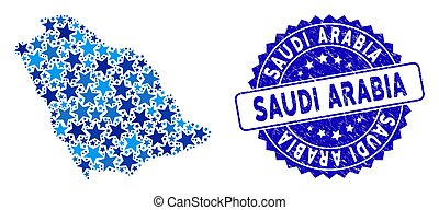 Blue Star Saudi Arabia Map Collage and Distress Seal