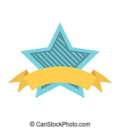 blue star shield with stripes and yellow ribbon