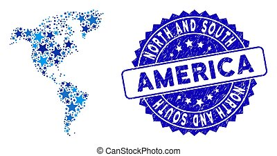 Blue Star South and North America Map Collage and Grunge Stamp Seal