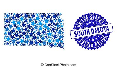 Blue Star South Dakota State Map Collage and Grunge Stamp Seal