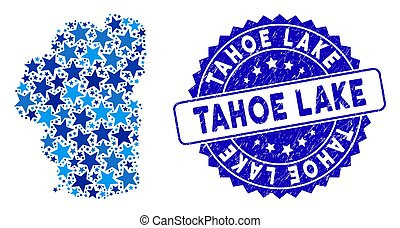 Blue Tahoe Lake map composition of stars, and grunge round stamp. Abstract territory plan in blue color hues. Vector Tahoe Lake map is composed of blue stars.