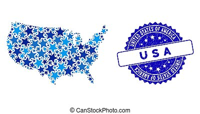 Blue Star USA Map Collage and Textured Stamp Seal