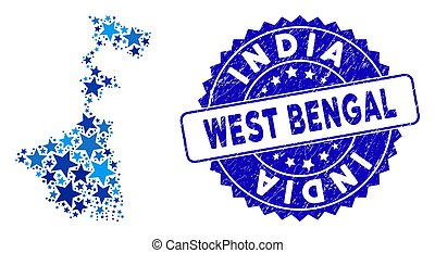 Blue Star West Bengal State Map Composition and Textured Stamp Seal