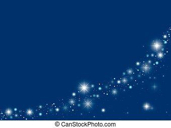 Blue Starry Christmas Background - Holiday Illustration,...