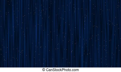 Blue, Starry Theater Curtain Waving - Blue theater curtain...