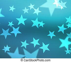 Blue Stars Bokeh Background