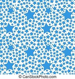 Blue stars on white, seamless pattern