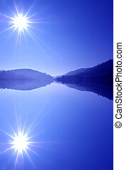 Blue Stars - Summer Lake Reflection of Mountains and Morning...