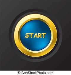 Blue start button - Customizable blue with gold start button...