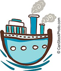 Blue steam ship with windows vector or color illustration