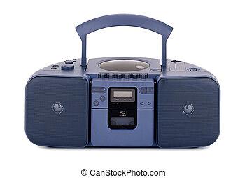 Blue stereo CD radio cassette recorder isolated on white
