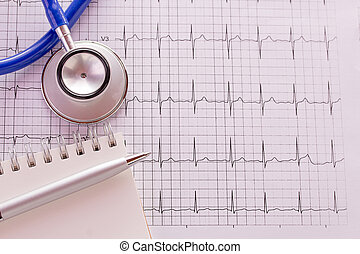 Blue stethoscope and cardiogram pulse trace concept