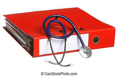 Blue stethoscope and red binder isolated on white