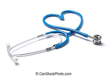 Blue stethoscope isolated on white background. Healthcare