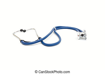 Blue stethoscope isolated on white background