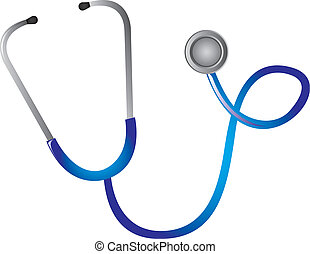 blue stethoscope isolated over white background. vector