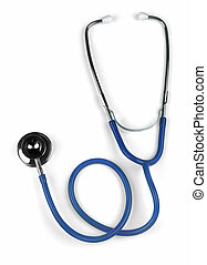 blue stethoscope on white vertical orientation
