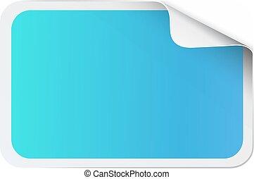 Blue sticker on white