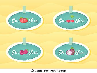 Blue sticker smoothie cocktail fruit and berry set
