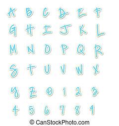 Blue Sticker Style ABC's