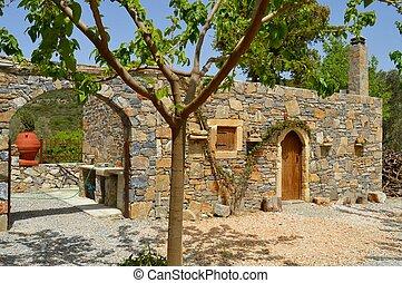 Blue stone Cretan typical house.