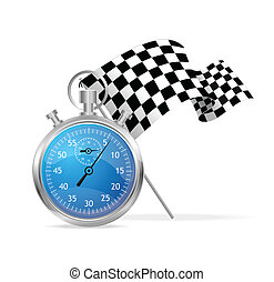 Blue stopwatch and flag vector illustraion