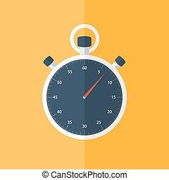 Blue stopwatch icon over orange