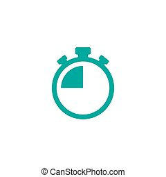 blue stopwatch with 15 minutes. flat icon isolated on white. Fast time stop watch