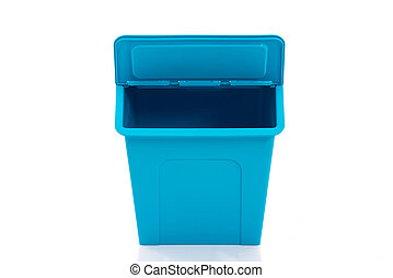 Blue storage box on white background isolated