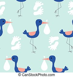Blue storks in a seamless pattern design