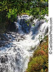 Blue stream waterfall in Vietnam