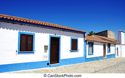 Blue street in alentejo village, Portugal