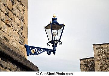 blue street lantern at tower of london