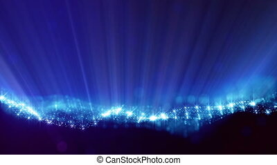 blue strings, microcosm or space. Seamless footage with beautiful light effects. 3d loop abstract animation of glow particles with depth of field, bokeh and light rays as vj loop. 6