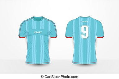 a6bdde960 Yellow red blue color football t-shirt mock up. Soccer jersey or ...