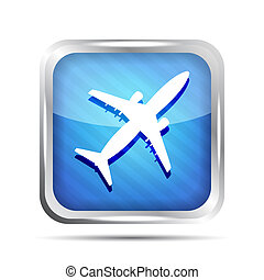 blue striped airplane icon on a white background