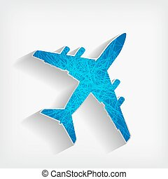 blue striped airplane on a grey background