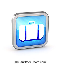 blue striped baggage icon on a white background